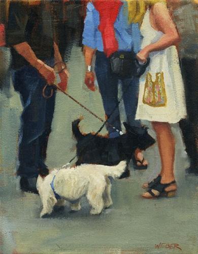 """""""Canine criss-cross"""" original fine art by Kathy Weber"""