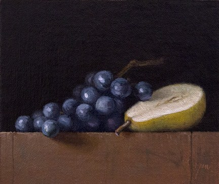 """""""Still Life with Pear Half and Concord Grapes"""" original fine art by Abbey Ryan"""