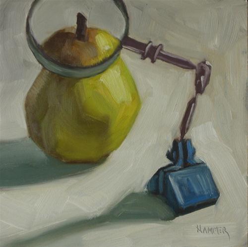 """Pear inspection 6x6  oil"" original fine art by Claudia Hammer"