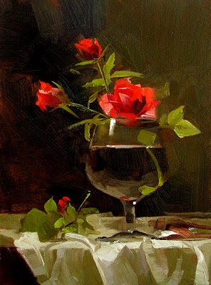 """Roses in Glass"" original fine art by Qiang Huang"