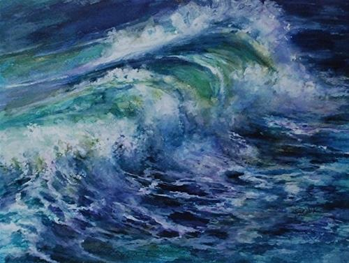 """Pacific Surf, 9 x 12 Watercolor, Landscape"" original fine art by Donna Pierce-Clark"