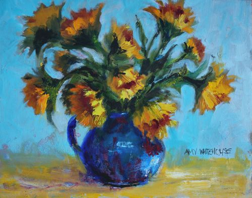 """""""SUNFLOWERS IN BLUE PITCHER, 16x20 Oil"""" original fine art by Amy Whitehouse"""
