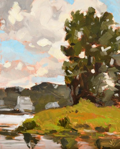 """Trees on Geist"" original fine art by Jessica Green"