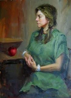 """Red apple"" original fine art by Fongwei Liu"
