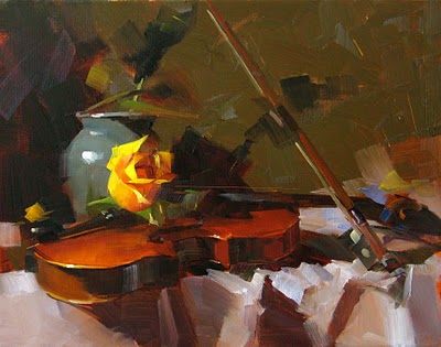 """""""Yellow Rose and Violin --- Sold"""" original fine art by Qiang Huang"""