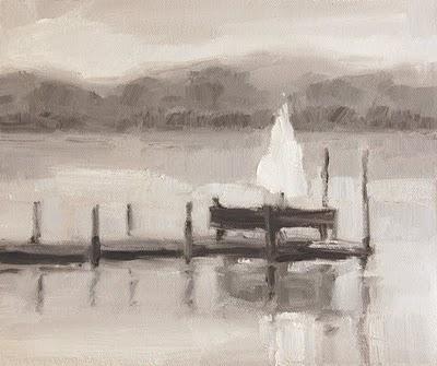 """Dock with Umbrella Value Study"" original fine art by Laurel Daniel"