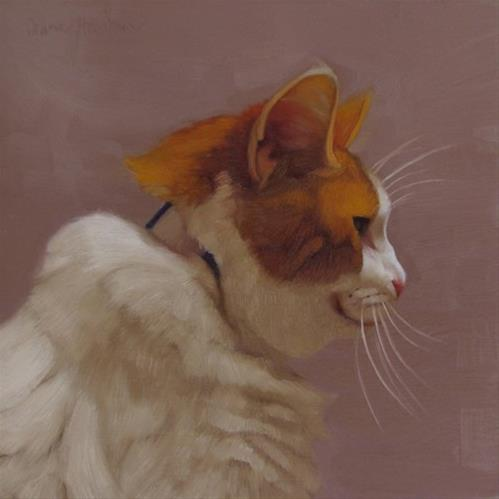 """The Veteran, an orange and white cat from the Cleveland APL"" original fine art by Diane Hoeptner"