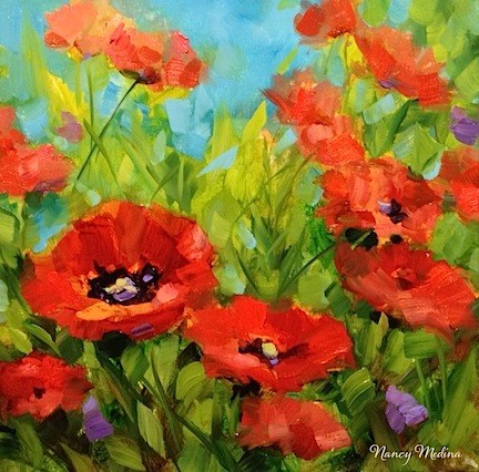 """The Gathering - Poppies in Red by Texas Flower Artist Nancy Medina"" original fine art by Nancy Medina"
