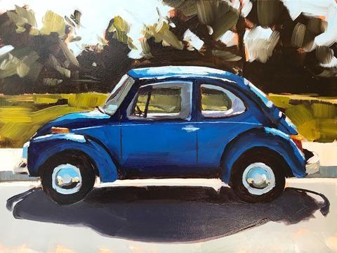 """""""Blue Bug"""" original fine art by Sharon Schock"""