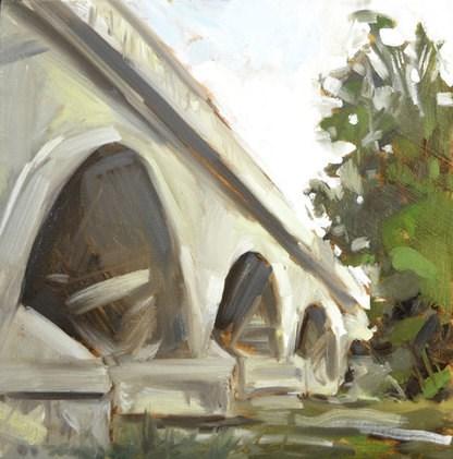 """Plein Air Bridge"" original fine art by Jessica Green"
