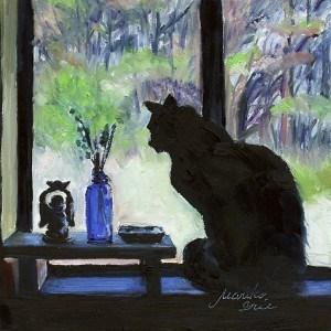 """Talking to Ebisu"" original fine art by Mariko Irie"