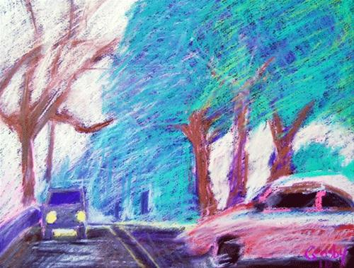 """Lights In Fog"" original fine art by Donna Crosby"