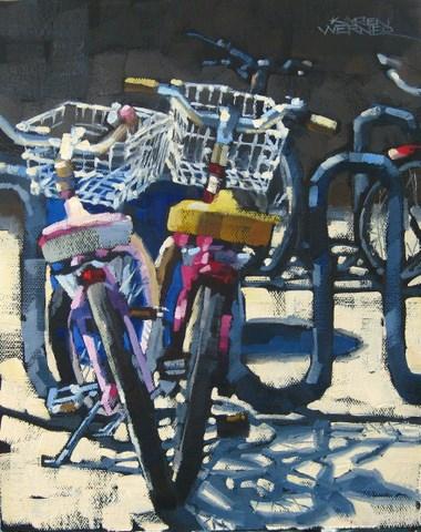"""Balboa Bikes 'n Blues"" original fine art by Karen Werner"