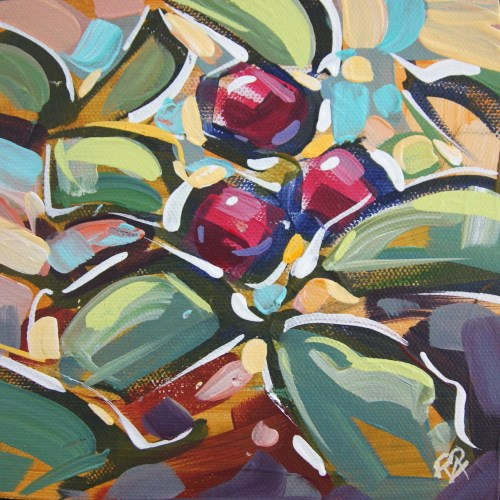 """""""Autumn Berry Abstraction 35"""" original fine art by Roger Akesson"""