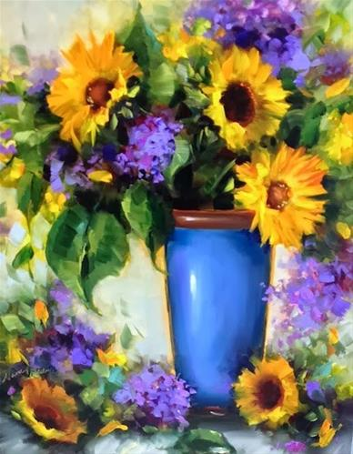 """Sunflowers and Blue Plumbago and a Florida Workshop by Floral Artist Nancy Medina"" original fine art by Nancy Medina"
