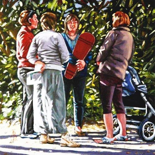 """School run gossip"" original fine art by Alix Baker PCAFAS AUA"