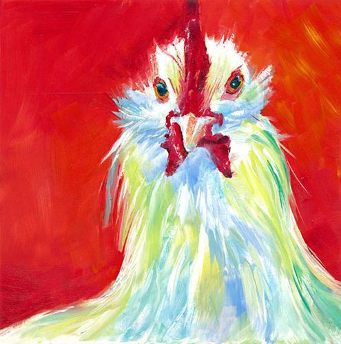 """What the Cluck?"" original fine art by Brenda Ferguson"
