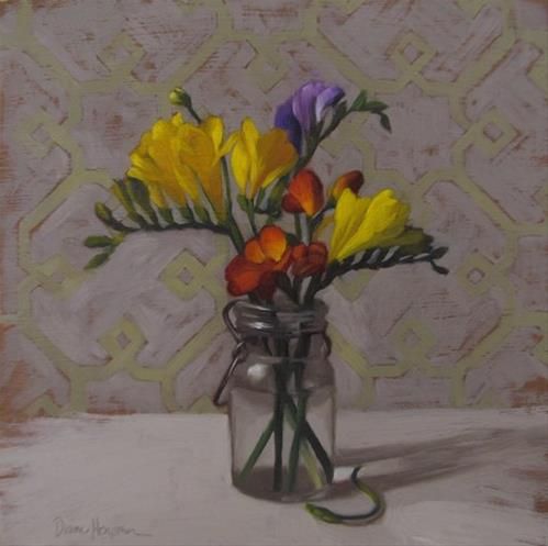 """""""Freesias I, more thoughts on Royal Talens Cobra paints"""" original fine art by Diane Hoeptner"""
