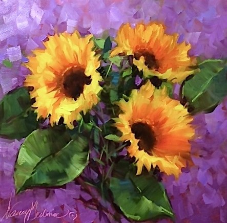 """""""Take Your Color As Far As You Want It to Go - Hothouse Sunflowers - Flower Paintings by Nancy Medina"""" original fine art by Nancy Medina"""