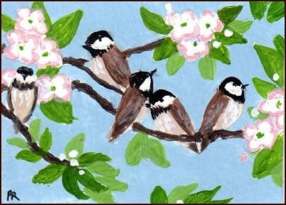 """""""Happy Chickadees"""" original fine art by Patricia Ann Rizzo"""