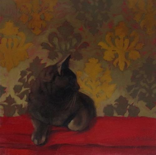 """""""Coco on Red, a painting of my favorite cat"""" original fine art by Diane Hoeptner"""