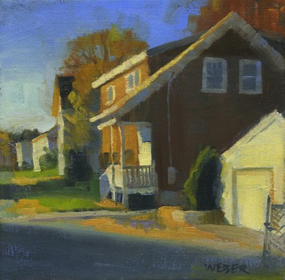 """Brown house"" original fine art by Kathy Weber"