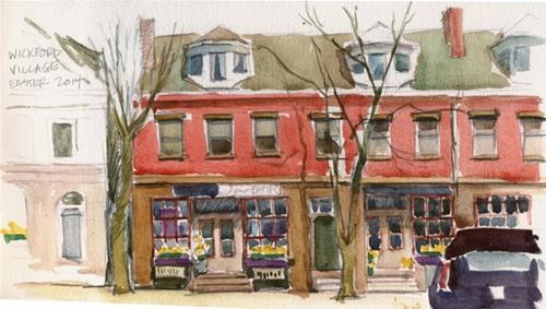 """Wickford Village in spring"" original fine art by Kathy Weber"