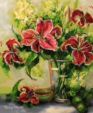 """Paint the Town Pink Stargazer Lilies"" original fine art by Nancy Medina"