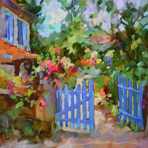 """Blue Gate, French Invitation"" original fine art by Dreama Tolle Perry"