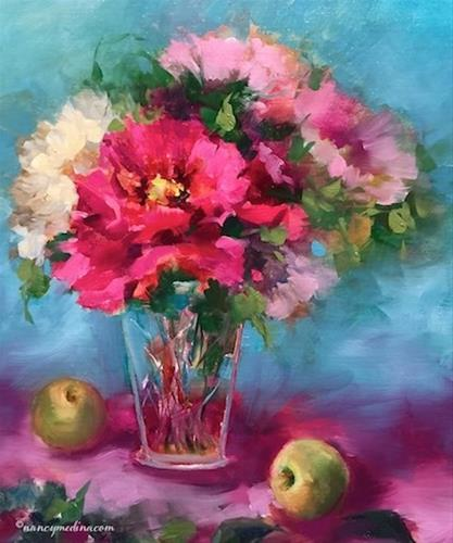 """""""A Mother's Music and Peonies in Cut Glass - Flower Painting Classes and Workshops by Nancy Medina Ar"""" original fine art by Nancy Medina"""
