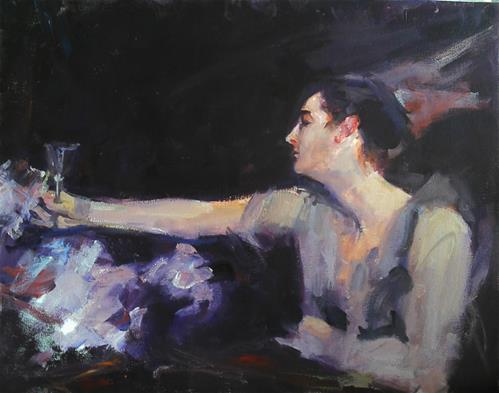 """copy of a Sargent painting/ wine glass"" original fine art by Richard Schiele"