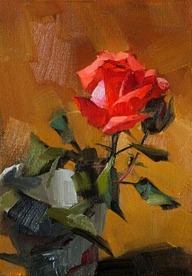 """""""Solo Bloom --- Sold"""" original fine art by Qiang Huang"""