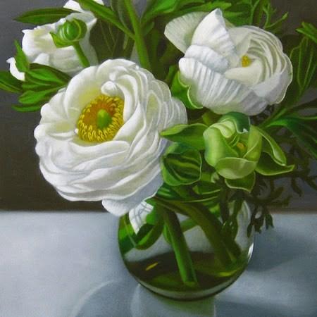 """White Ranunculus 6x6"" original fine art by M Collier"