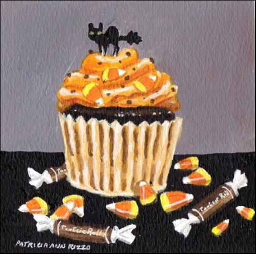 """Spooky Halloween Cat Cupcake"" original fine art by Patricia Ann Rizzo"