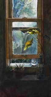 """""""Watercolor: Entry Window"""" original fine art by Belinda Del Pesco"""