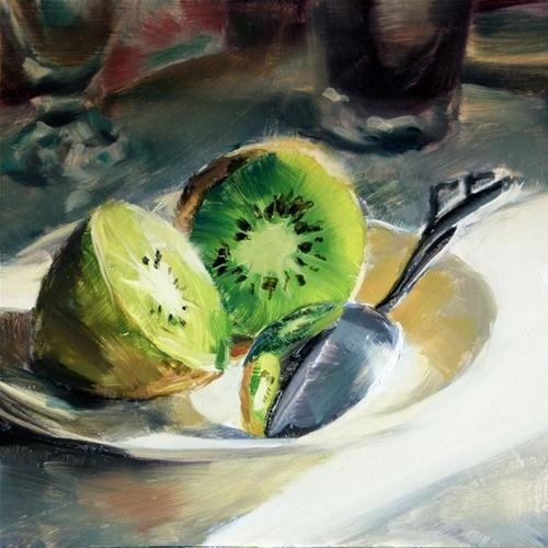 """Kiwifruit with Spoon"" original fine art by Deb Anderson"