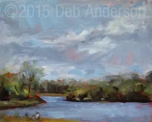 """""""Plein air oil painting: Beck Lake, Rain or Shine"""" original fine art by Deb Anderson"""