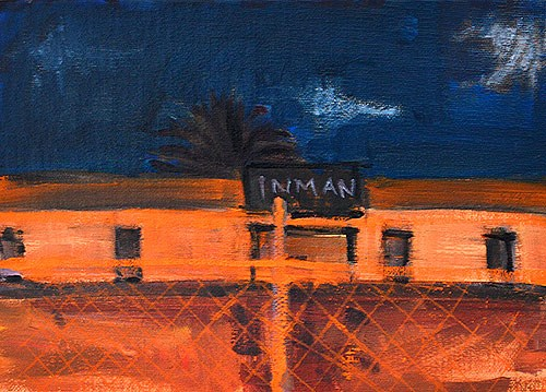 """""""Construction Site at Night Painting, San Diego"""" original fine art by Kevin Inman"""