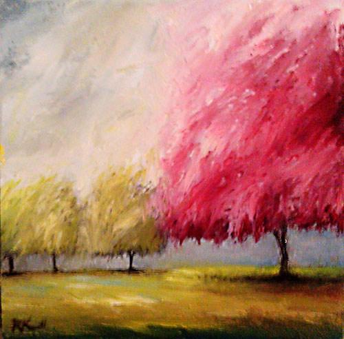 """""""Cherry Tree and Company"""" original fine art by Bob Kimball"""