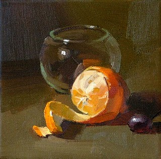 """Orange Spiral"" original fine art by Qiang Huang"