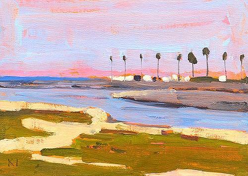 """Mission Beach Palm Trees"" original fine art by Kevin Inman"