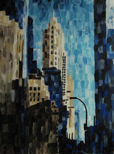 """Cityscape in Rectangles"" original fine art by Nan Johnson"