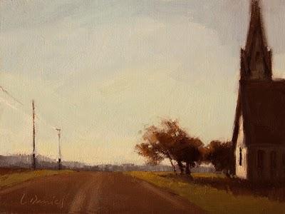 """Hilltop Chapel"" original fine art by Laurel Daniel"
