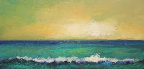 """""""Atlantic Breaking, Beach and Ocean Paintings by Arizona Artist Amy Whitehouse"""" original fine art by Amy Whitehouse"""