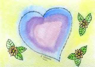 """""""A Heart and Three Flowers"""" original fine art by Kali Parsons"""