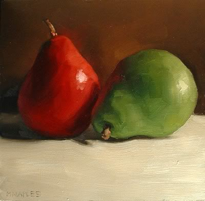 """Complementary Pears"" original fine art by Michael Naples"