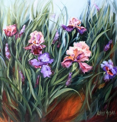 """Monet's Garden - Irises"" original fine art by Nancy Medina"