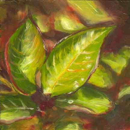 """Red and Green Leaves"" original fine art by Kara Butler English"