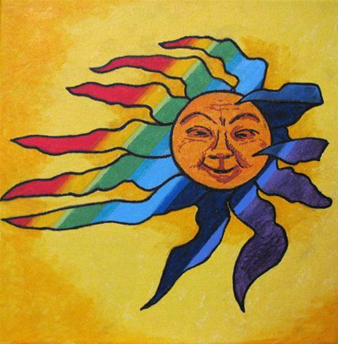 """Rainbow Sun"" original fine art by Nan Johnson"
