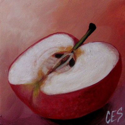 """CES Shelf Sitter: Apple Half"" original fine art by ~ces~ Christine E. S. Code"
